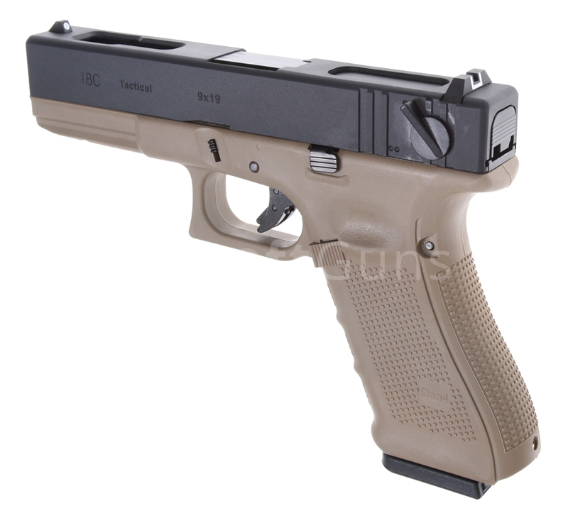 Glock 18C, frame 4. gen., TAN, GBB, WE | AirsoftGuns