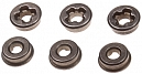 Bushings, steel, oilless, 7mm, cross slot, SHS