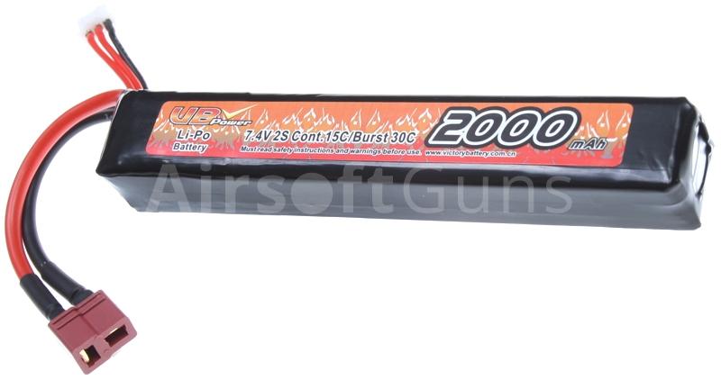 BATTERIE LIPO 7.4V 2000 MAH 15C//BURST 30C 2 STICKS VB POWER