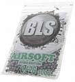 Airsoft BBs, 0.42g, 6mm, gray, stainless, 1000rd, small bag, BLS