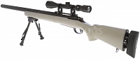 M24 Socom TAN, Military, bipod, scope, Snow Wolf, SW-04JT++
